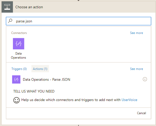 Parse json action