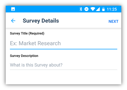 survey creation view