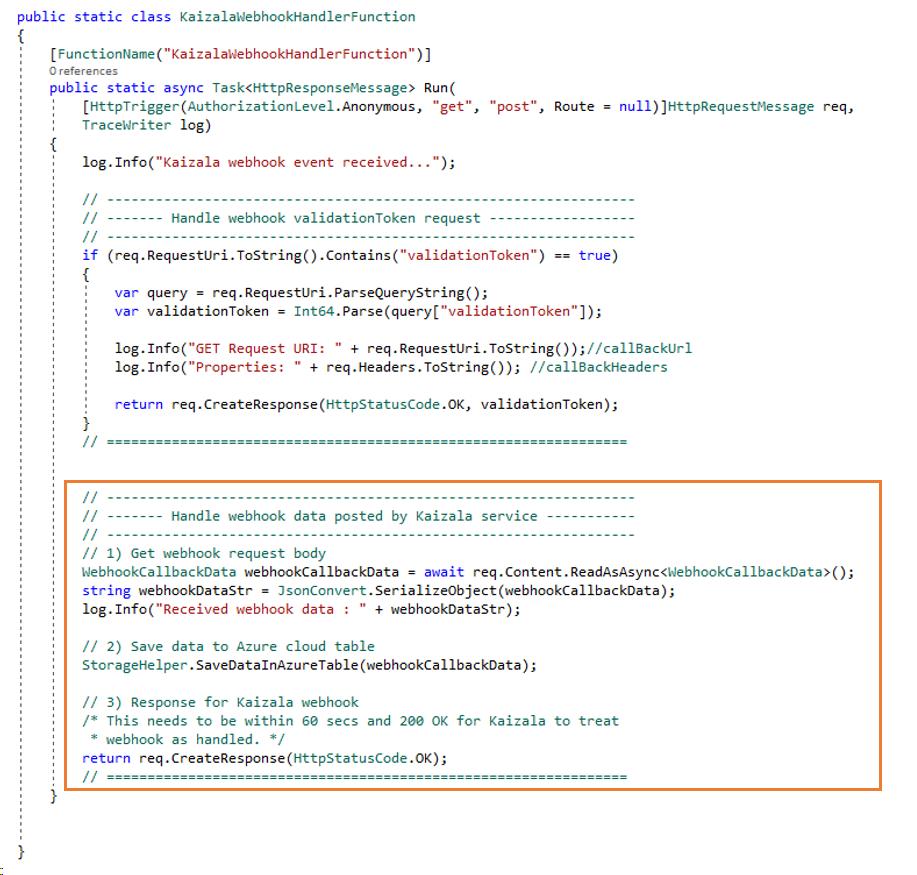 Using Azure Function to Store data from Kaizala webhooks – Tinkering